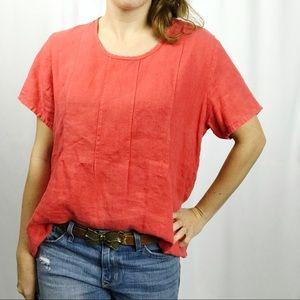 Flax • Red 100% Linen Short Sleeve Tee